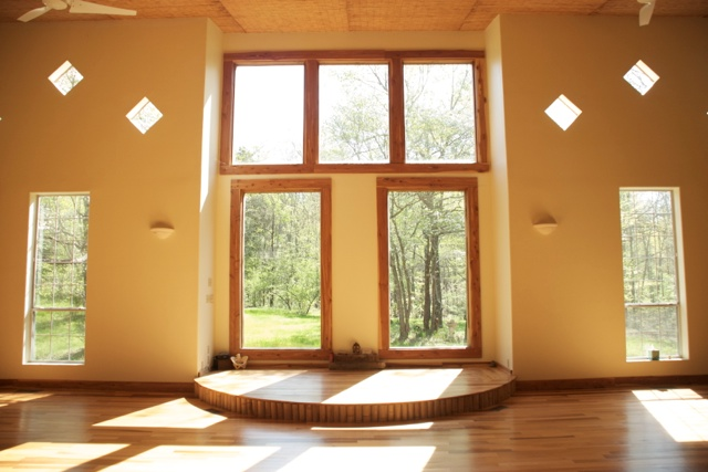 Beautiful yoga room surrounded by nature.